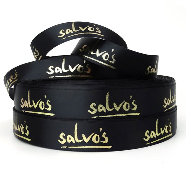 black and gold personalised printed ribbon