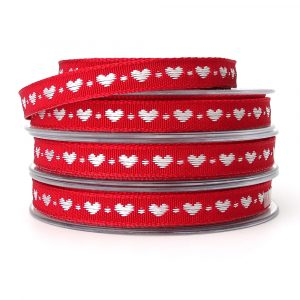 Berisfords Little Heart Ribbon 60191 col 9 white and red