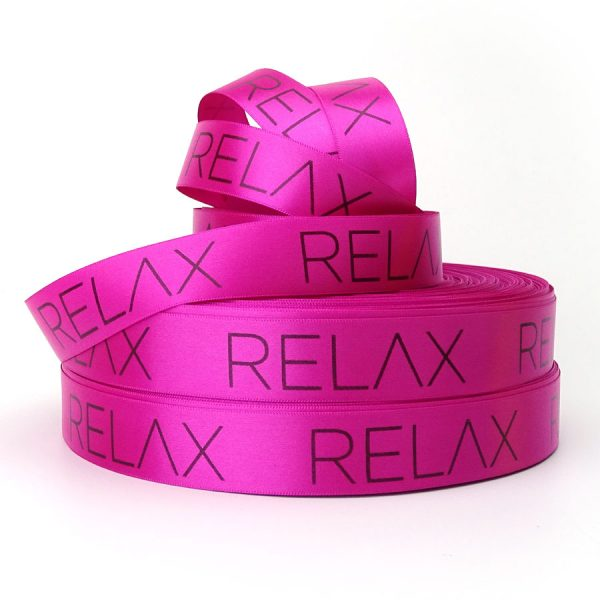 single sided hot pink personalised printed ribbon