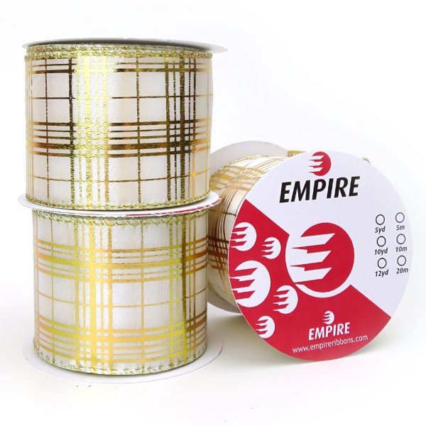 empire ribbons white gold wired tartan
