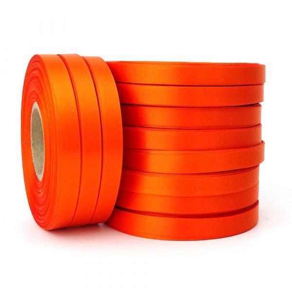 10mm orange double sided satin ribbon