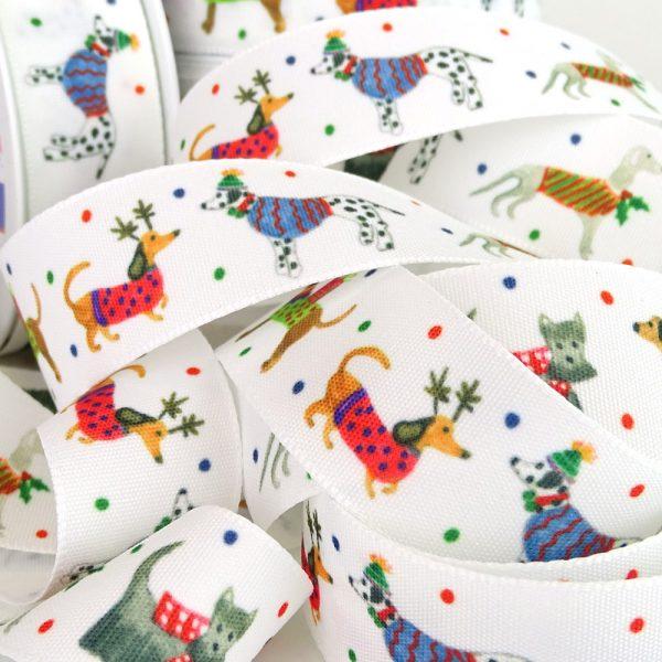 Jolly Dogs Christmas Ribbon Berisfords 80717