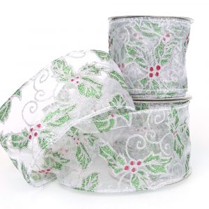 christmas holy wired silver organza ribbon