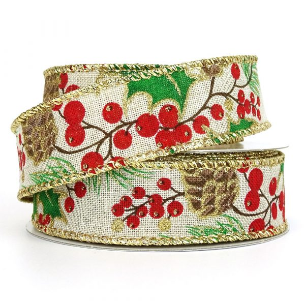 Holly Leaf & Berries 25mm Gold Edge Wired Burlap Ribbon