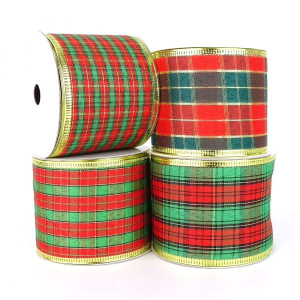 mixed wired edge tartan ribbon bundle