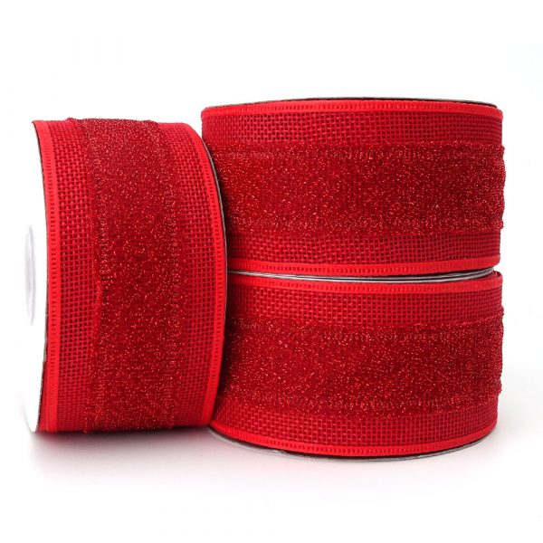 Red Hessian Ribbon with Shimmer Band 50mm