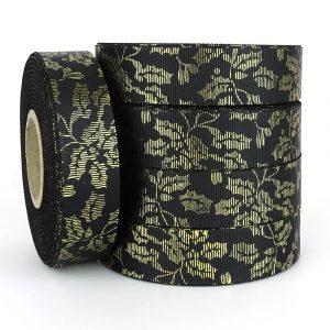 holly leaf black and gold grosgrain ribbon