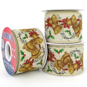 christmas bells wired hessian ribbon