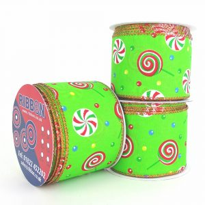 lime green festive lollypop wired ribbon