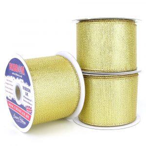 glitz gold lame wired ribbon 63mm