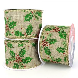 christmas holly wired hessian ribbon