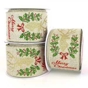 Glitter Stag & Holly Merry Christmas Wired Ribbon