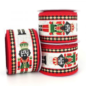 nutcracker soldier wired christmas ribbon